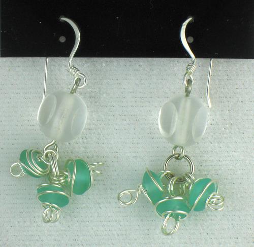 Mint ice earrings